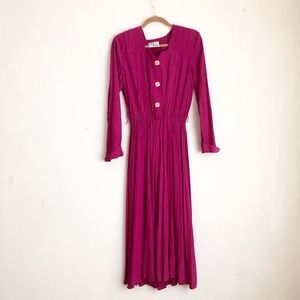 Vintage pink dress fit and flared maxi long sleeve
